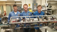 Virginia Tech's RockSat-X team includes (left to right) Seth Austin, Sebastian Welsh, and John Mulvaney, all of the College of Engineering.