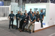 FutureHAUS bathroom: Faculty and students from the FutureHAUS team in Las Vegas, from left to right: Mohamed Handosa, Brandon Lingenfelser, Joseph Wheeler, Andrew Ciambrone, Denis Gracanin, Clive Vorster, Kelsey Werner, Miles Navid-Oster, Kimberly Jusczak, Thanhthao Le, and Marquis Reynolds.
